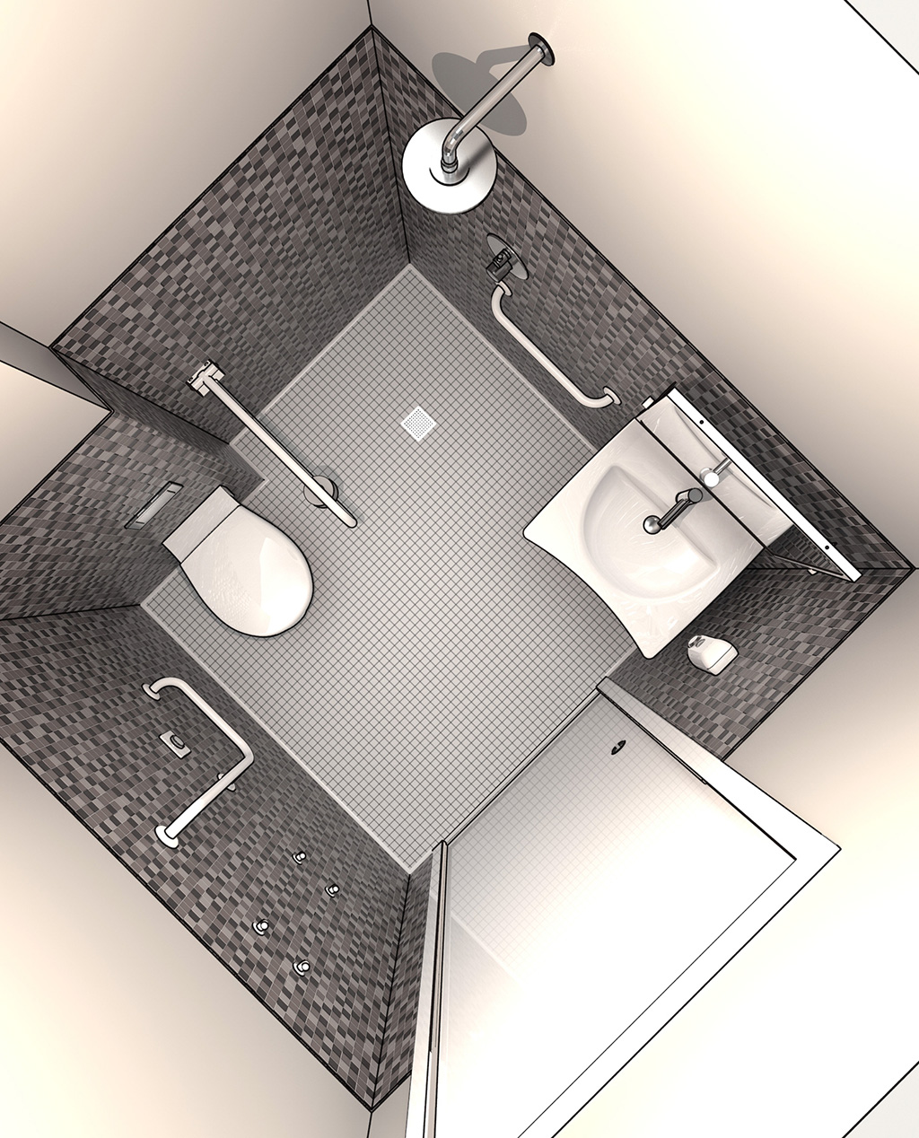Salle de bain pour personne mobilit r duite vaste - Accessoires salle de bain pour handicapes ...