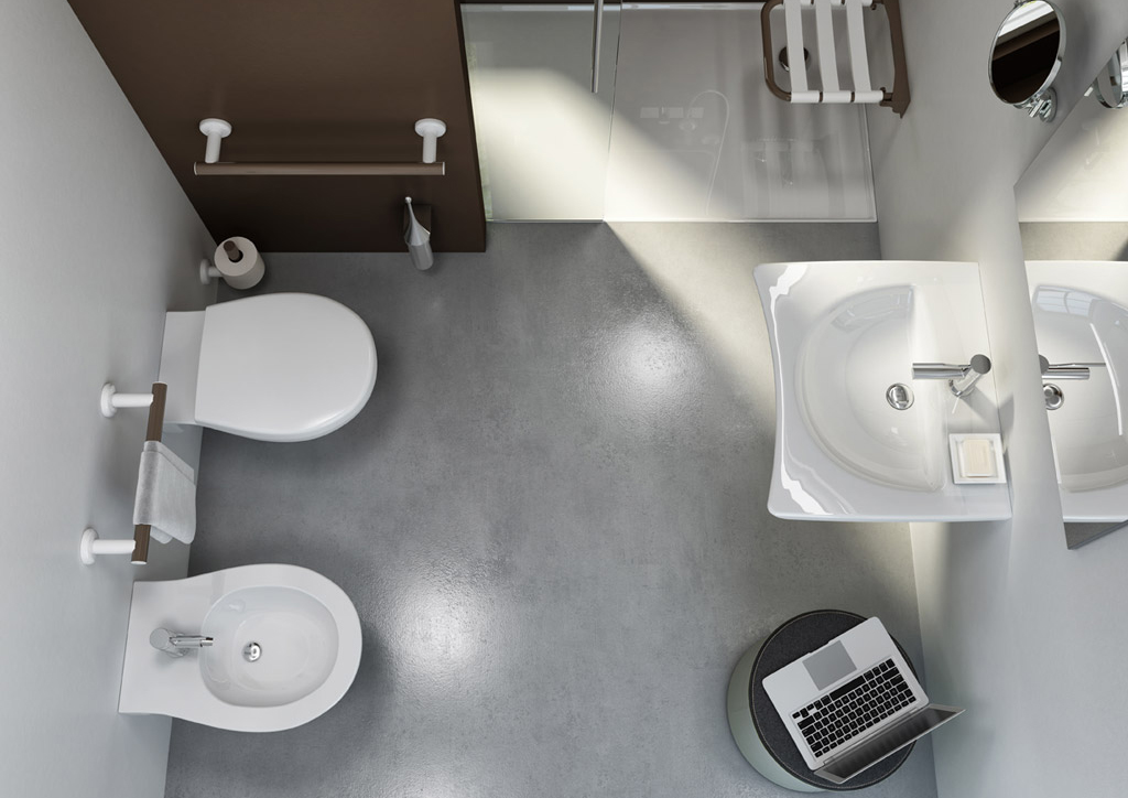 salle de bains minimal white top